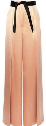 Belted Pleated Silk-satin Wide-leg Pants