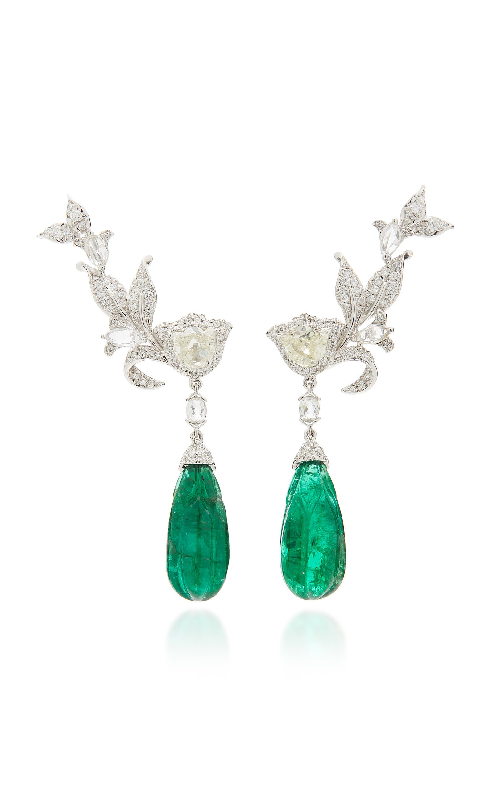 Amrapali 18K Gold Diamond And Emerald Earrings