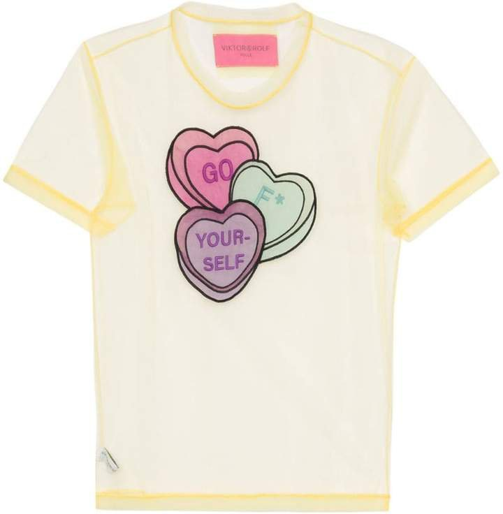 Lovehearts-embroidered tulle T-shirt