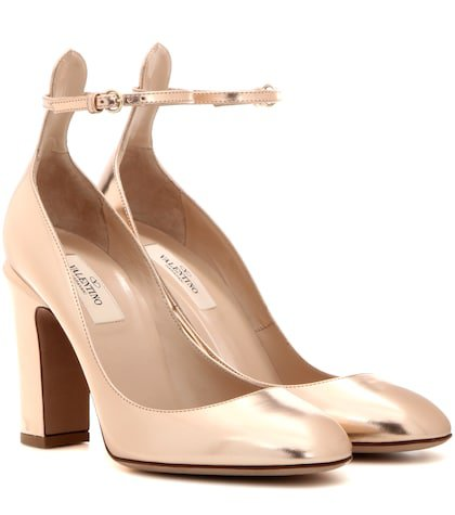 Valentino Garavani Tan-go metallic leather pumps