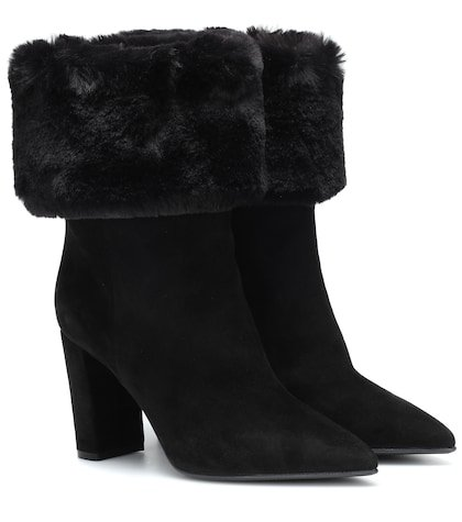 Faux fur-trimmed suede ankle boots