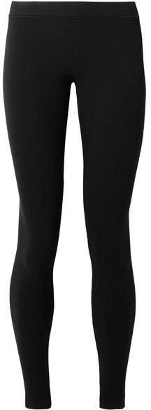 Stretch-pima Cotton Jersey Leggings - Black