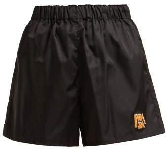 Logo Patch Nylon Shorts - Womens - Black