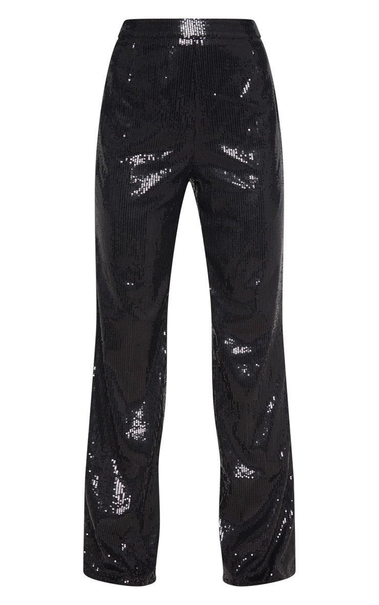 Black Sequin Wide Leg Trouser   Trousers   PrettyLittleThing