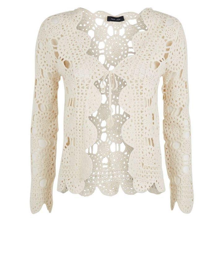 Cream Crochet Long Sleeve Cardigan | New Look