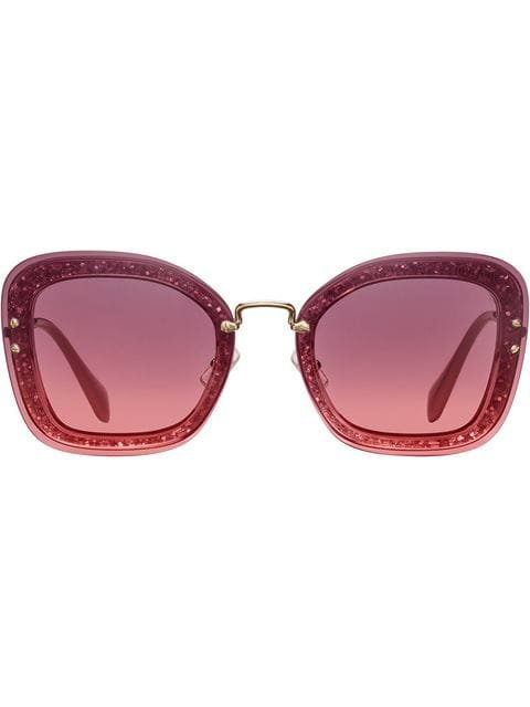 Miu Miu Eyewear Reveal Oversized Glitter Frame Sunglasses - Farfetch
