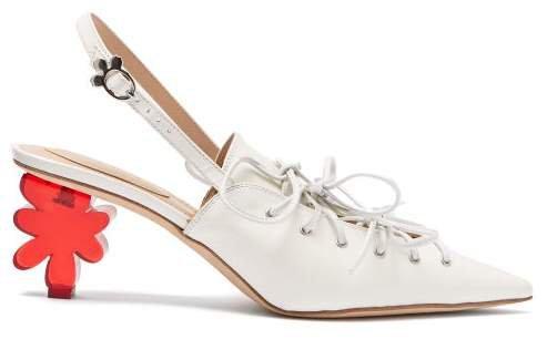 Flower Heel Leather Slingback Pumps - Womens - White