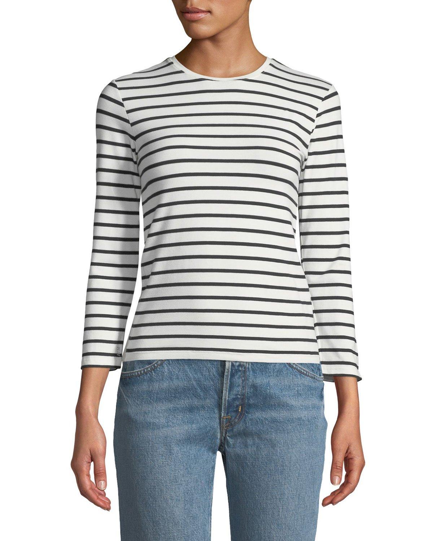 ATM Anthony Thomas Melillo Striped Jersey Long-Sleeve Tee   Neiman Marcus