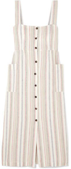 The Giuditta Striped Linen Dress - Ecru