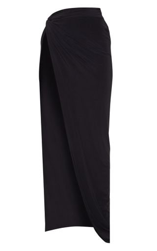 Black Slinky Extreme Split Knot Front Maxi Skirt | PrettyLittleThing