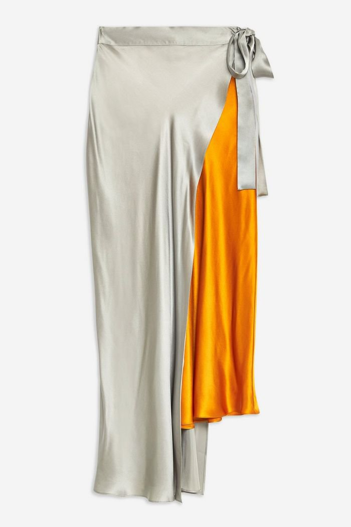 **Colour Block Silk Skirt by Boutique | Topshop Grey