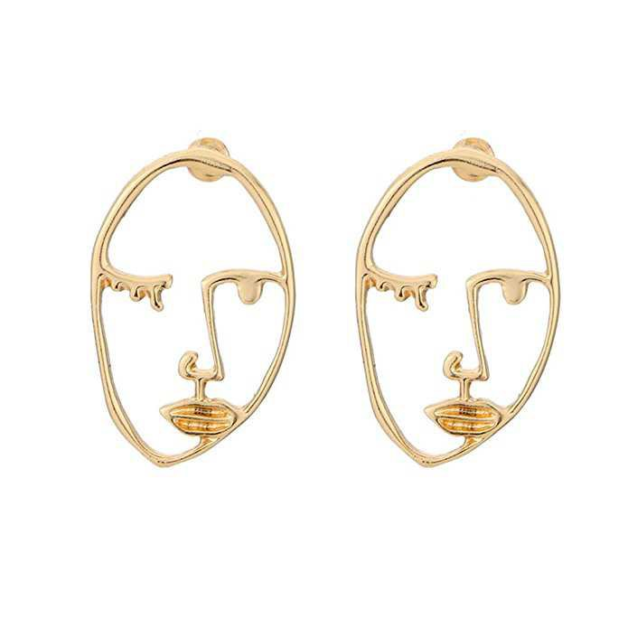 Zealmer Statement Face Outline Earrings Hollow Out Dangling Color Gold Stud Earrings: Amazon