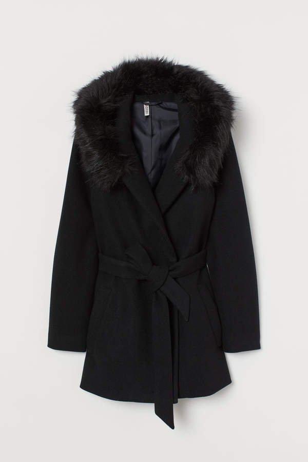 Short Coat with Hood - Black