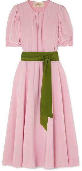 Brooke Belted Silk Crepe De Chine Midi Dress - Blush