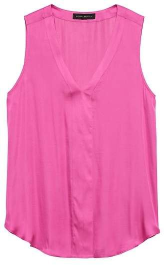Soft Satin Sleeveless V-Neck Top