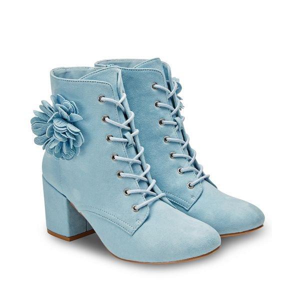 Joe Browns Pale Blue Suedette 'Clear Skies' High Block Heel Lace Up Ankle Boots | Debenhams