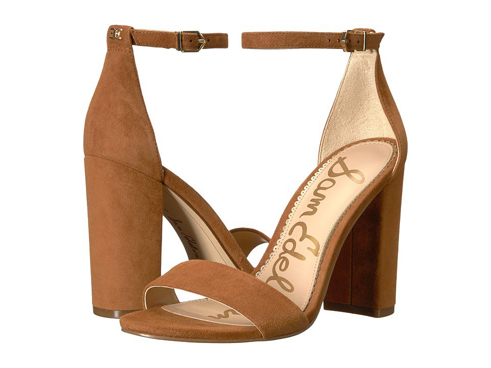 Sam Edelman - Yaro Ankle Strap Sandal Heel (Luggage Kid Suede Leather) Women's Dress Sandals