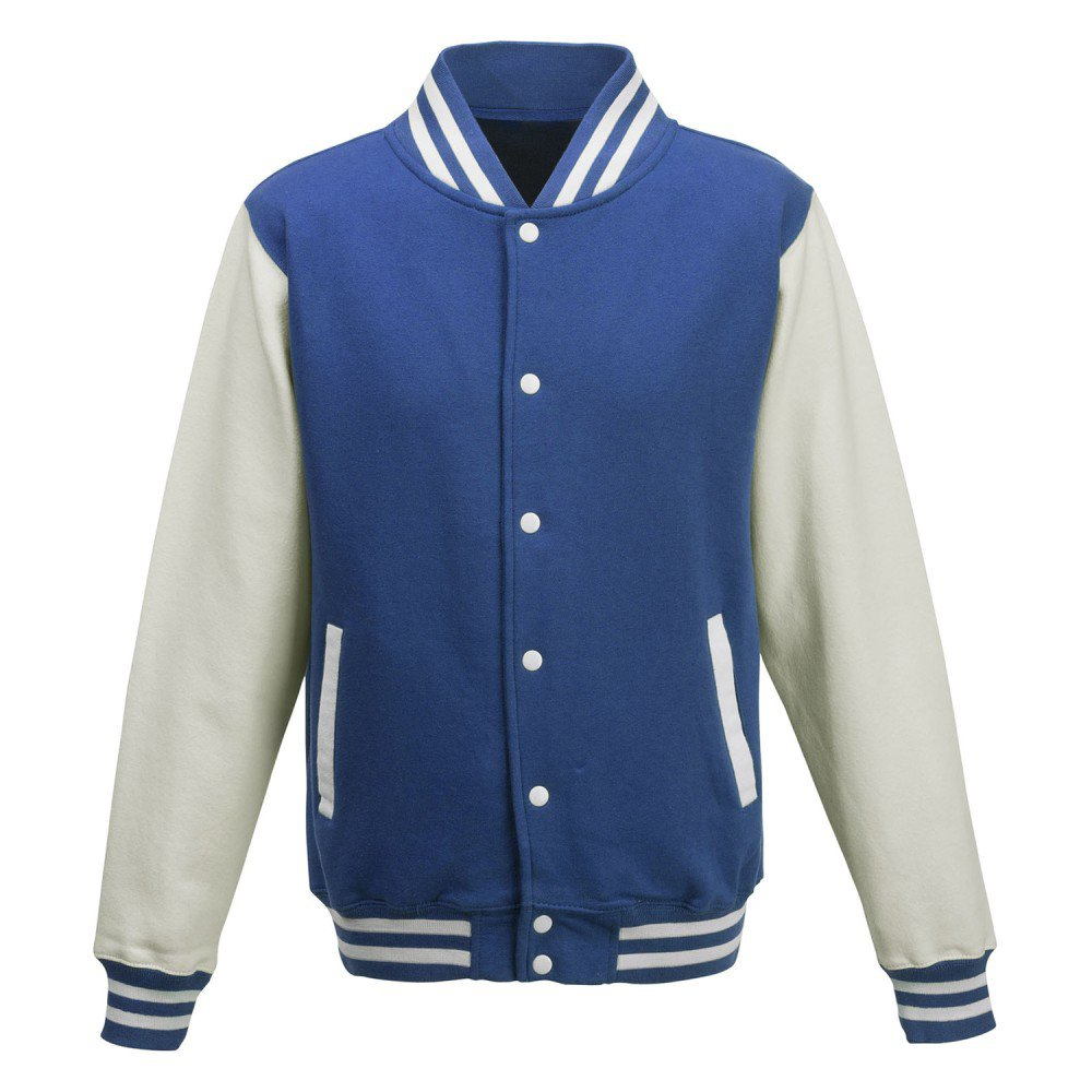 blue/white high school varsity jacket