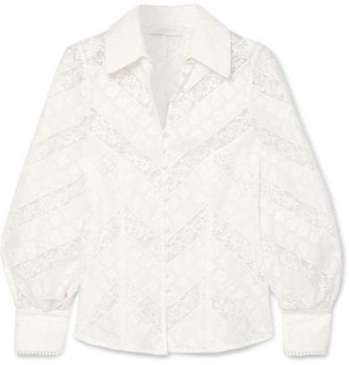 Veneto Lantern Broderie Anglaise And Lace Blouse - Ivory