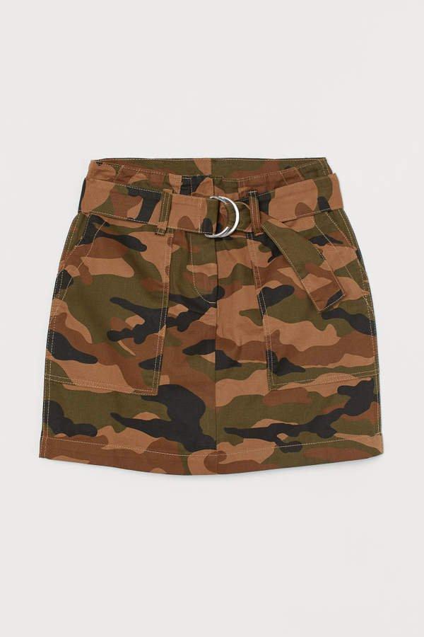 Patterned Cargo Skirt - Green