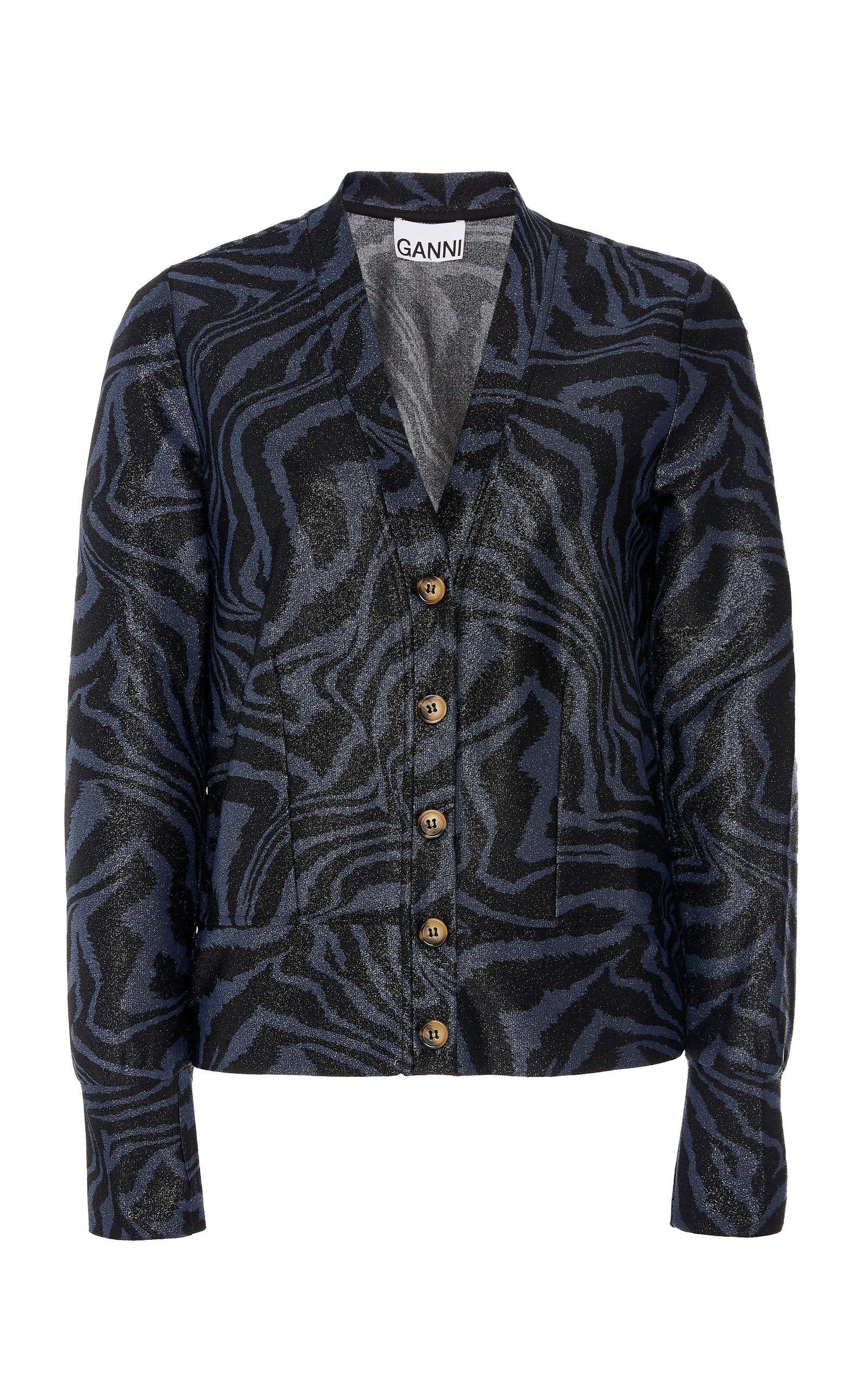 Ganni Metallic Printed Lurex Jersey Top