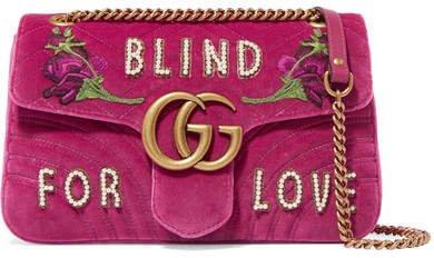 Gg Marmont Medium Embellished Quilted Velvet And Leather Shoulder Bag - Pink