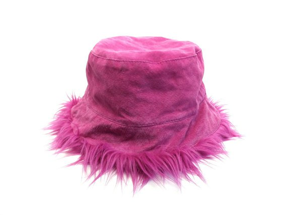 90's Magenta Suede & Faux Fur Bucket Hat