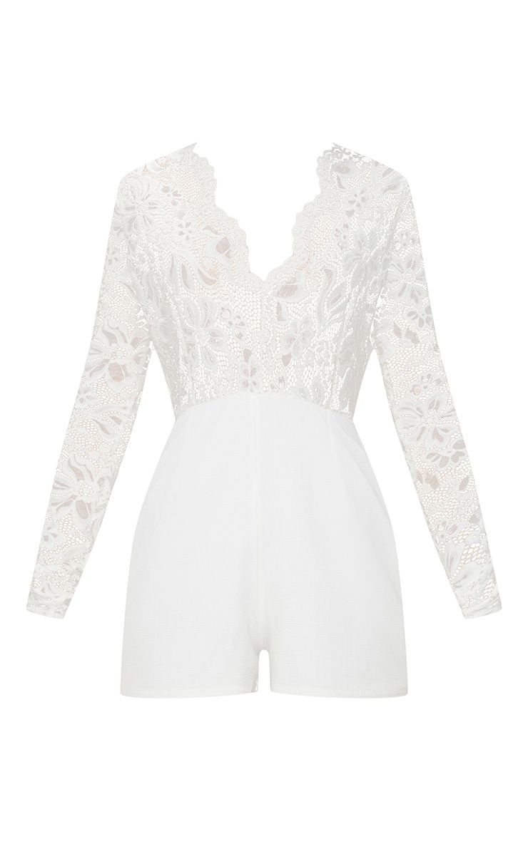 White Lace Long Sleeve Plunge Romper   PrettyLittleThing USA