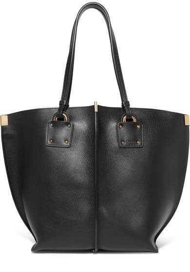 Vick Textured-leather Tote - Black