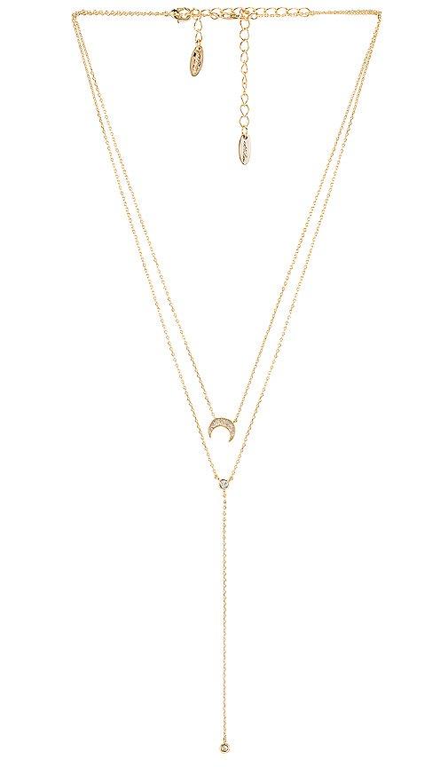 Ettika Layered Moon Lariat Necklace in Gold | REVOLVE