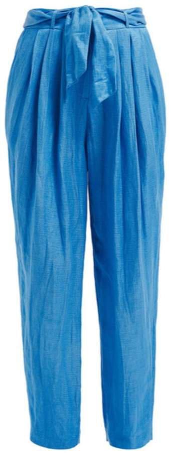 WtR - Orquidea Blue Linen Paperbag Trousers
