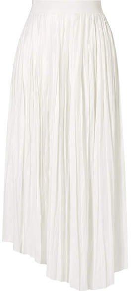 Dolmen Asymmetric Pleated Satin Midi Skirt - White