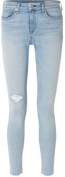The Skinny Mid-rise Distressed Jeans - Light denim
