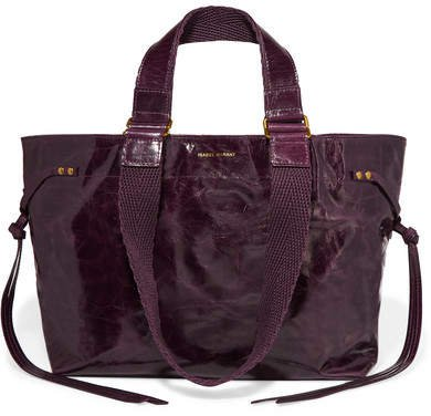 Bagya Canvas-trimmed Glossed-leather Tote - Burgundy
