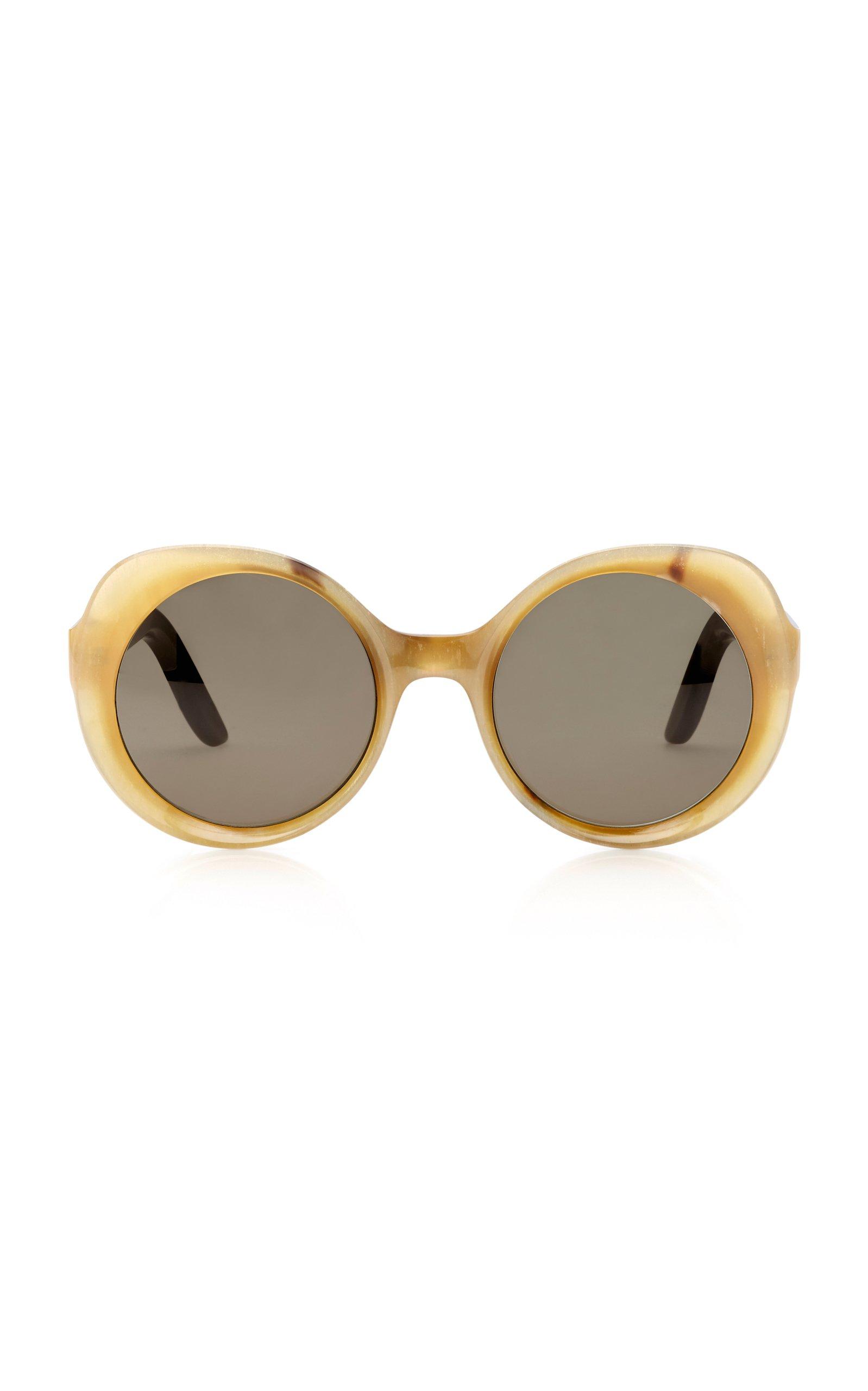 Lapima Carlota Oversized Round-Frame Horn Sunglasses