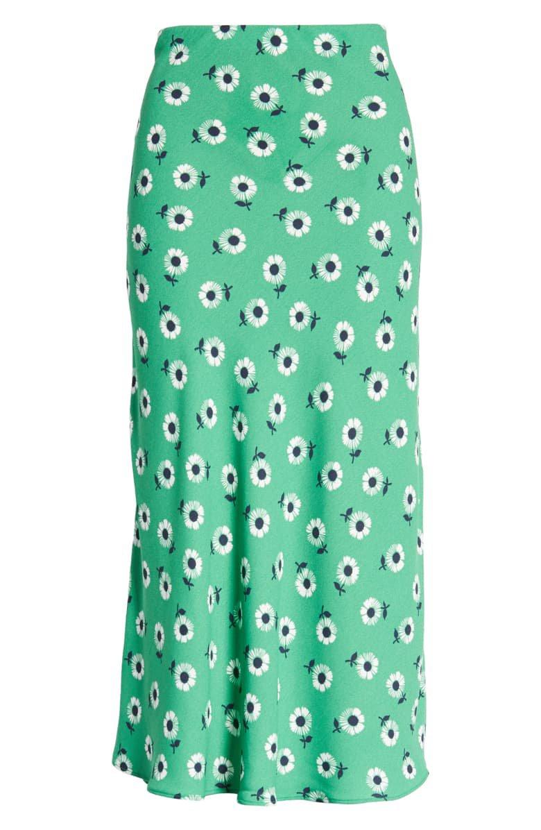 Halogen® Bias Cut A-Line Skirt (Regular & Petite) green