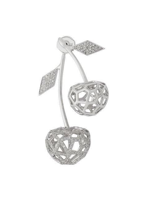 Natasha Zinko White Gold And Diamond Double Cherry Earring - Farfetch