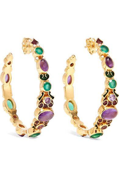 Percossi Papi   Gold-plated and enamel multi-stone hoop earrings   NET-A-PORTER.COM