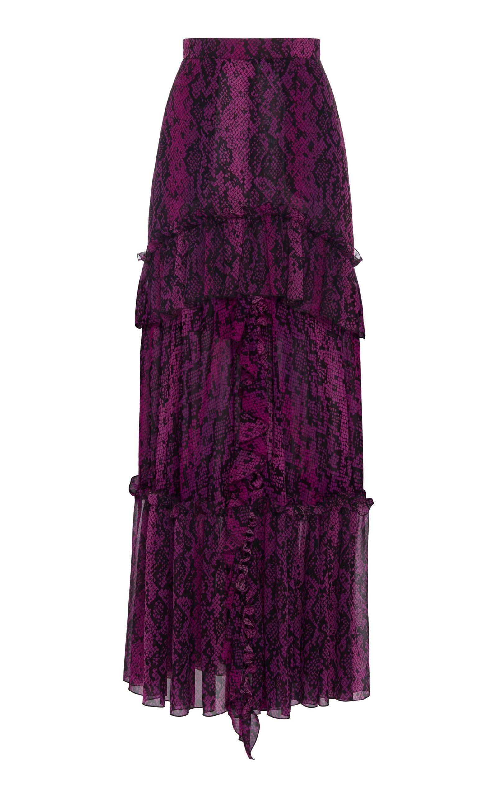 Dundas Python-Print Silk Ruffled Maxi Skirt Size: 46