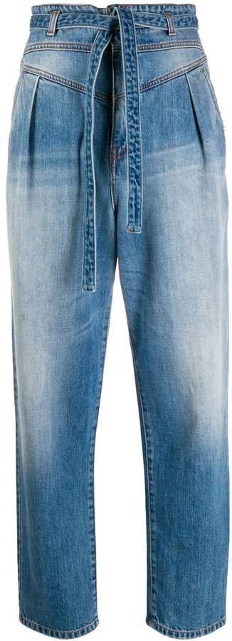 high-waisted straight-leg jeans