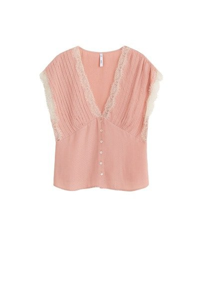 MANGO Lace textured blouse