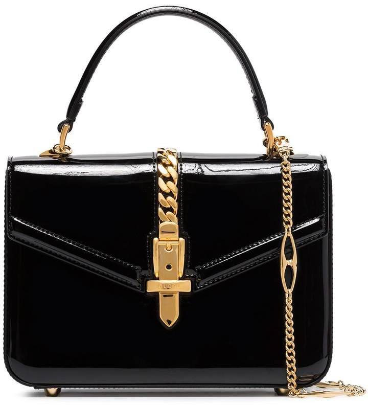 Sylvie patent-leather tote bag