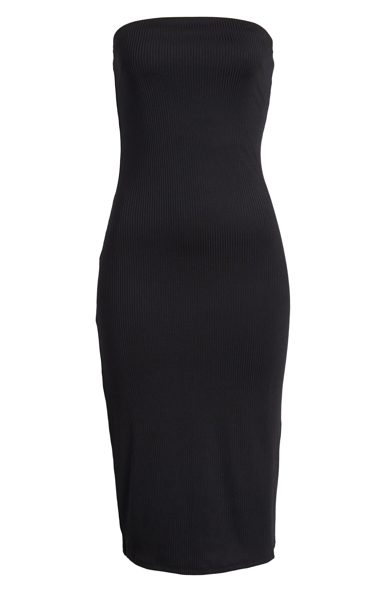Leith Ribbed Midi Strapless Tube Dress Black