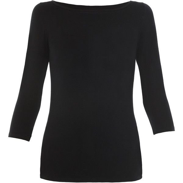Slash neck black top