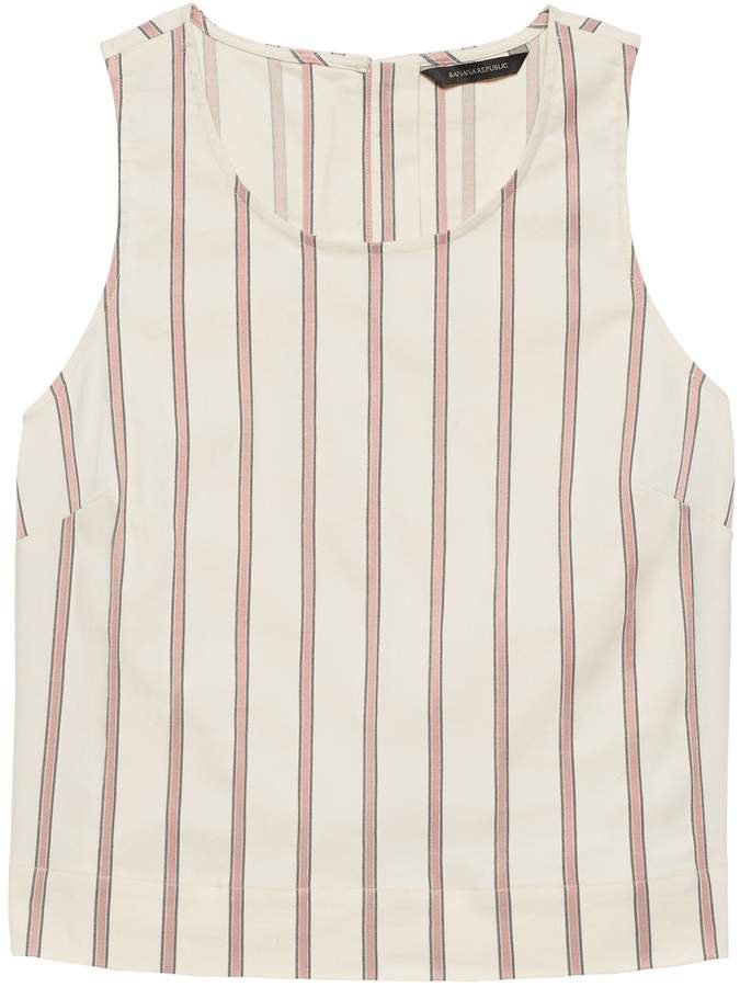 Petite Linen-Blend Button-Back Tank