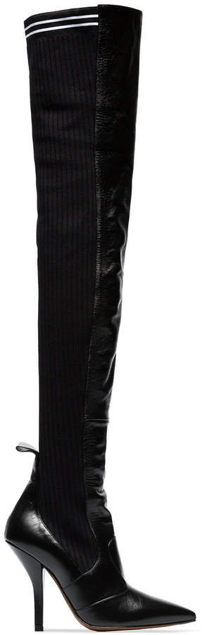 black Rockoko 105 leather and fabric over the knee boots