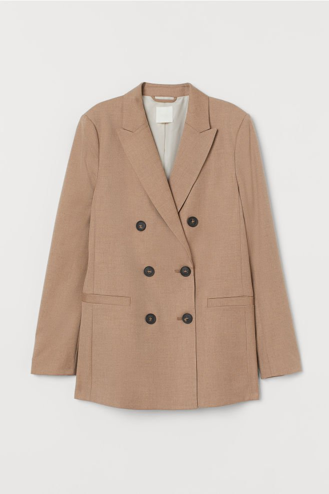 Double-breasted Jacket - Dark beige - Ladies | H&M US