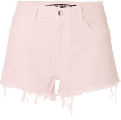 Bite Frayed Denim Shorts - Pastel pink