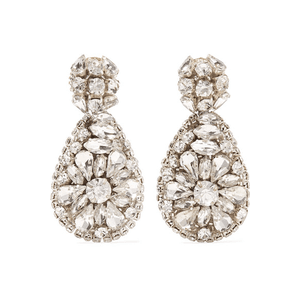 Oscar de la Renta | Silver-tone crystal clip earrings | NET-A-PORTER.COM