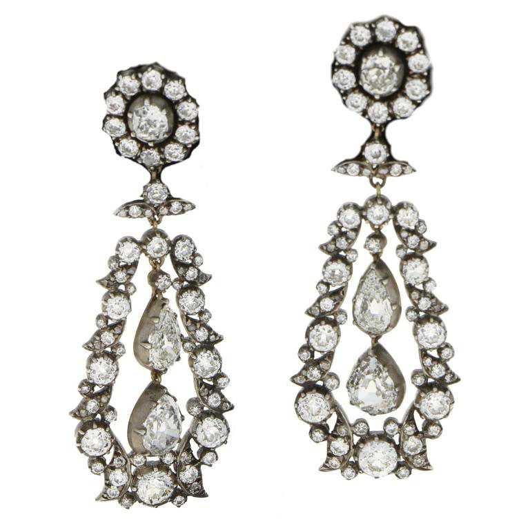 1880 Victorian Diamond Drop Ohrringe für Verkauf bei 1stdibs